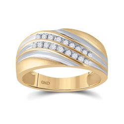 Mens Round Diamond Wedding Band Ring 1/4 Cttw 10kt Yellow Gold - REF-26K9Y