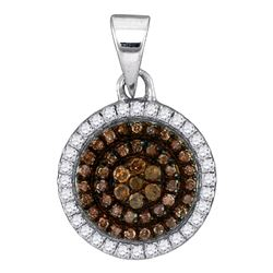 Womens Round Brown Diamond Circle Frame Cluster Pendant 1/3 Cttw 10kt White Gold - REF-14X9A