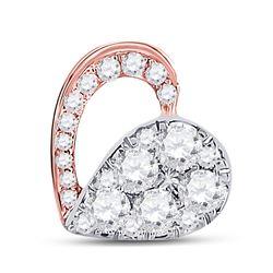 Womens Round Diamond Heart Pendant 1/2 Cttw 10kt Rose Gold - REF-25F9W
