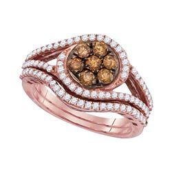 Womens Round Brown Diamond Bridal Wedding Ring Band Set 1 Cttw 10kt Rose Gold - REF-54X5A