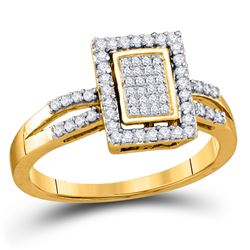 Womens Round Diamond Rectangle Frame Cluster Ring 1/3 Cttw 10kt Yellow Gold - REF-18A5M
