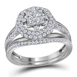 Princess Diamond Halo Bridal Wedding Ring Band Set 1 Cttw 14kt White Gold - REF-71W9K