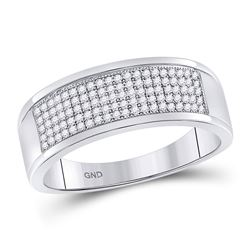 Mens Round Diamond Micropave Wedding Anniversary Band Ring 1/3 Cttw 10k White Gold - REF-28X9A
