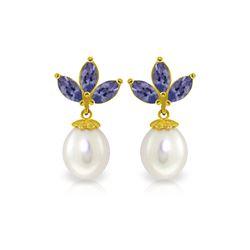 Genuine 9.5 ctw Tanzanite & Pearl Earrings 14KT Yellow Gold - REF-43V4W