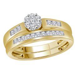 Round Diamond Cluster Bridal Wedding Ring Band Set 1/2 Cttw 10kt Yellow Gold - REF-44K5Y
