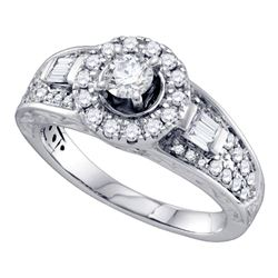 Round Diamond Solitaire Bridal Wedding Engagement Ring 1 Cttw 14kt White Gold - REF-142A9M