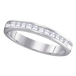 Womens Princess Diamond Single Row Wedding Band 1/2 Cttw 14kt White Gold - REF-49F9W