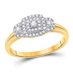 Round Diamond Solitaire Bridal Wedding Engagement Ring 1/4 Cttw 10kt Yellow Gold - REF-19N9F