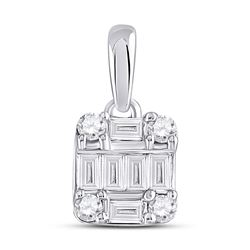 Womens Baguette Diamond Fashion Cluster Pendant 1/3 Cttw 14kt White Gold - REF-27A9M