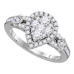Round Diamond Cluster Bridal Wedding Engagement Ring 3/4 Cttw 14kt White Gold - REF-62X9A
