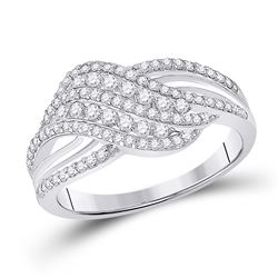 Womens Round Diamond Crossover Fashion Ring 1/2 Cttw 10kt White Gold - REF-29H5R