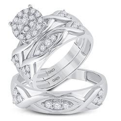 His Hers Round Diamond Cluster Matching Wedding Set 3/4 Cttw 10kt White Gold - REF-54M5H