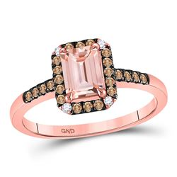 Womens Emerald-cut Morganite Solitaire Ring 1-1/4 Cttw 10kt Rose Gold - REF-32K5Y
