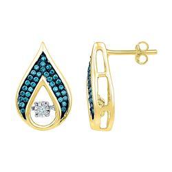 Womens Round Blue Color Enhanced Diamond Teardrop Earrings 1/4 Cttw 10kt Yellow Gold - REF-27W9K
