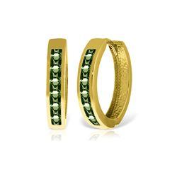 Genuine 1.85 ctw Green Sapphire Earrings 14KT Yellow Gold - REF-64Y6F