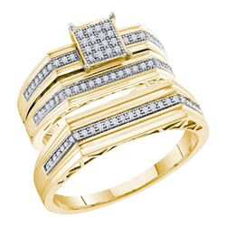 His Hers Round Diamond Square Matching Wedding Set 1/3 Cttw 10kt Yellow Gold - REF-35M5H