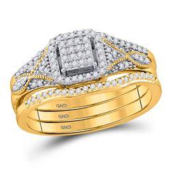 Round Diamond 3-Piece Bridal Wedding Ring Band Set 1/4 Cttw 10kt Yellow Gold - REF-27W9K