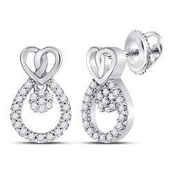 Womens Round Diamond Teardrop Heart Earrings 1/6 Cttw 10kt White Gold - REF-12X9A
