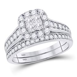 Princess Diamond Bridal Wedding Ring Band Set 1 Cttw 14kt White Gold - REF-71R9X