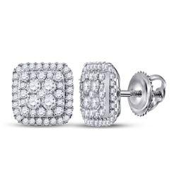 Womens Round Diamond Cushion Cluster Earrings 1-1/2 Cttw 14kt White Gold - REF-98H5R