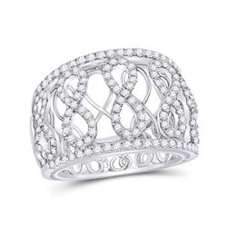 Womens Round Diamond Fashion Infinity Band Ring 7/8 Cttw 14kt White Gold - REF-76K5Y