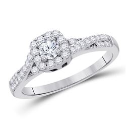 Round Diamond Solitaire Bridal Wedding Engagement Ring 1/2 Cttw 10kt White Gold - REF-40W9K