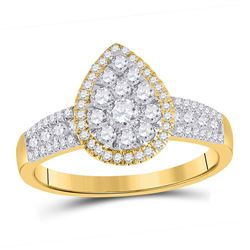 Round Diamond Pear Cluster Bridal Wedding Engagement Ring 3/4 Cttw 14kt Yellow Gold - REF-41F9W