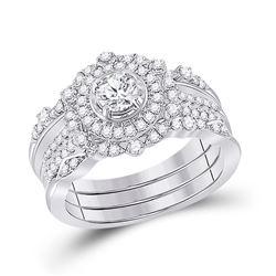 Round Diamond Bridal Wedding Ring Band Set 1 Cttw 14kt White Gold - REF-120X5A
