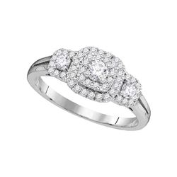 Round Diamond Solitaire Double Halo Bridal Wedding Engagement Ring 1/2 Cttw 14kt White Gold - REF-53