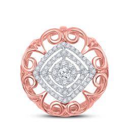 Womens Round Diamond Filigree Fashion Pendant 1/3 Cttw 14kt Two-tone Gold - REF-30Y5N
