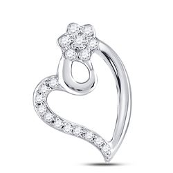 Womens Round Diamond Floral Heart Pendant 1/10 Cttw 10kt White Gold - REF-8Y5N
