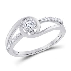Round Diamond Halo Bridal Wedding Engagement Ring 1/3 Cttw 10kt White Gold - REF-25X9A