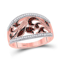 Womens Round Red Color Enhanced Diamond Milgrain Floral Band Ring 1/4 Cttw 10kt Rose Gold - REF-29M9