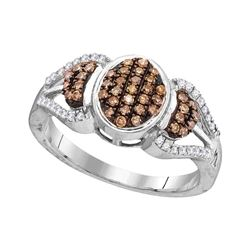 Womens Round Brown Diamond Oval Cluster Ring 1/3 Cttw 10kt White Gold - REF-20A9M