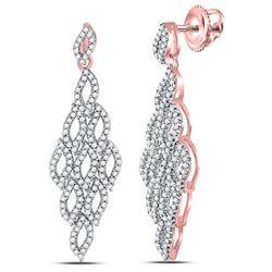 Womens Round Diamond Dangle Earrings 3/4 Cttw 10kt Rose Gold - REF-38Y9N