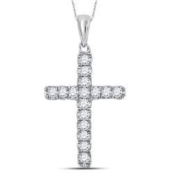 Womens Round Diamond Religious Cross Pendant 1/4 Cttw 10kt White Gold - REF-13Y9N