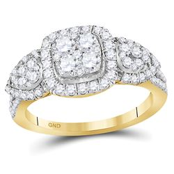 Womens Round Diamond Square Cluster Ring 1-1/4 Cttw 10kt Yellow Gold - REF-65A5M