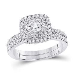 Princess Diamond Bridal Wedding Ring Band Set 1 Cttw 14kt White Gold - REF-156N5F
