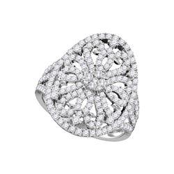 Round Diamond Cluster Bridal Wedding Engagement Ring 1 Cttw 14kt White Gold - REF-89W5K