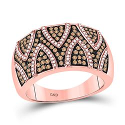 Womens Round Brown Diamond Cocktail Ring 5/8 Cttw 10kt Rose Gold - REF-32H5R