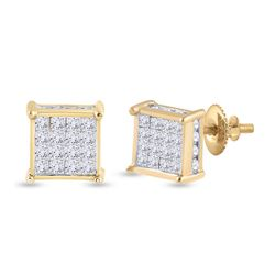 Womens Princess Diamond Square Earrings 3/4 Cttw 14kt Yellow Gold - REF-38F9W