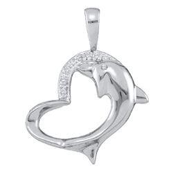 Womens Round Diamond Dolphin Heart Pendant .03 Cttw 10kt White Gold - REF-8H5R