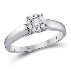 Round Diamond Solitaire Bridal Wedding Engagement Ring 1/5 Cttw 10kt White Gold - REF-21H5R