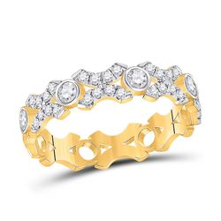 Womens Round Diamond XOXO Stackable Band Ring 1/2 Cttw 10kt Yellow Gold - REF-32W5K