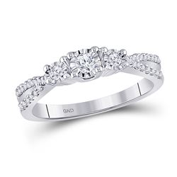 Round Diamond 3-stone Bridal Wedding Engagement Ring 1/3 Cttw 10kt White Gold - REF-25M9H