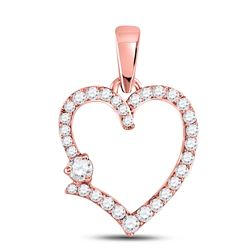 Womens Round Diamond Outline Heart Pendant 3/8 Cttw 10kt Rose Gold - REF-21H5R