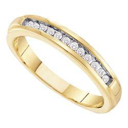 Womens Round Diamond Single Row Band Ring 1/8 Cttw 10kt Yellow Gold - REF-13F9W