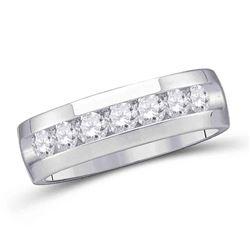 Mens Round Channel-set Diamond Wedding Band Ring 1/4 Cttw 14kt White Gold - REF-52M9H
