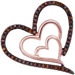 Womens Round Red Color Enhanced Diamond Heart Pendant 1/6 Cttw 10kt Rose Gold - REF-14Y9N