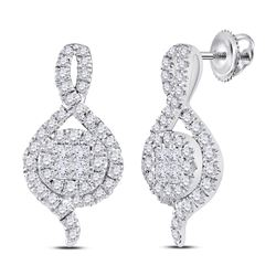 Womens Princess Round Diamond Cluster Earrings 1/2 Cttw 14kt White Gold - REF-41Y5N